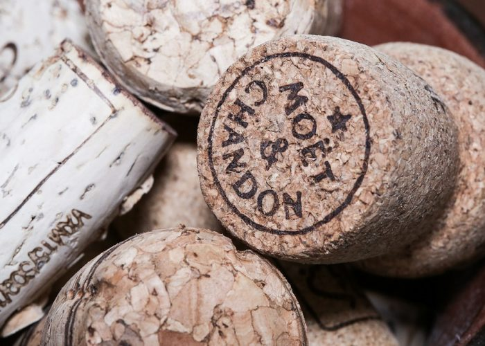 Corks of Champagne from a tasting of Moët & Chandon during a private wine day tour to champagne from Paris
