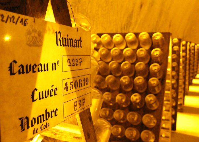 Visit of the cellar of ruinart and tasting during a luxury wine day tour to champagne