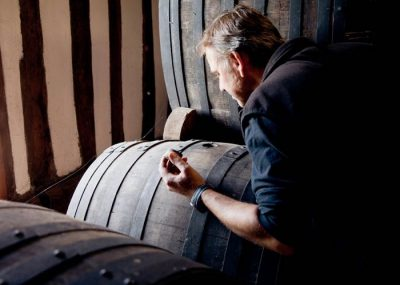 Visit of cellar of Calvados spirit aging in Normandy