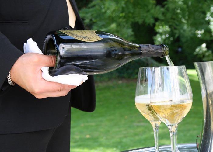 Service of Dom Pérignon Champagne