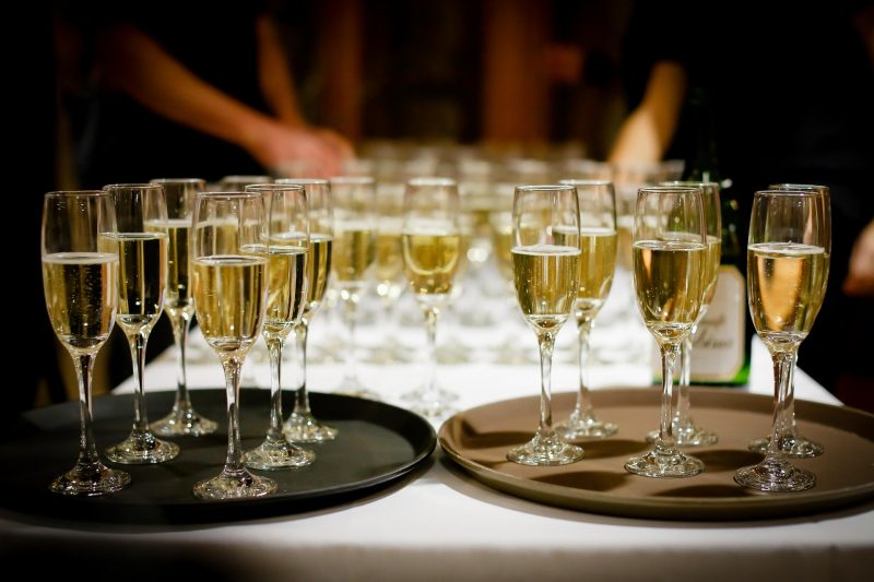 Champagne glasses on a plate My Winedays